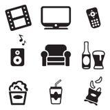 Iconos de la noche de película Imagen de archivo