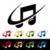 Iconos de la nota de la música de Swoosh Imágenes de archivo libres de regalías