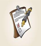 Iconos de la nota y de la pluma Fotografía de archivo