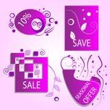 Iconos de la oferta de la primavera de la venta del descuento de la liquidación Imagenes de archivo