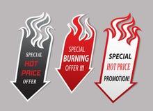 Iconos de la oferta de las flechas del fuego Imagen de archivo libre de regalías