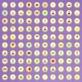 100 iconos de la oferta de trabajo fijados en estilo de la historieta Imagen de archivo libre de regalías