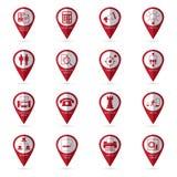 Iconos de la oficina con el icono de la ubicación Imagen de archivo libre de regalías