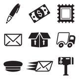 Iconos de la oficina de correos Fotografía de archivo