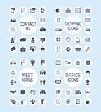 Iconos de la oficina de negocios y de las compras de Internet fijados Fotografía de archivo libre de regalías