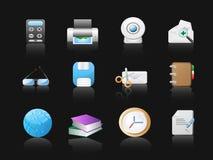 Iconos de la oficina en fondo negro Foto de archivo libre de regalías