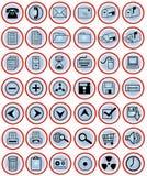 Iconos de la oficina en los botones azules Fotografía de archivo