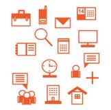 Iconos de la oficina en rojo Imágenes de archivo libres de regalías
