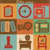 Iconos de la oficina, estilo del vintage Imagen de archivo