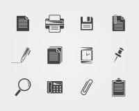 Iconos de la oficina Iconos negros Fotografía de archivo libre de regalías