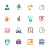 Iconos de la oficina - serie coloreada Fotos de archivo