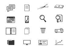 Iconos de la oficina y del asunto fijados Imagen de archivo libre de regalías