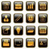 Iconos de la oficina y del asunto - serie de oro stock de ilustración