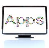Iconos de la palabra de Apps en la pantalla de la televisión ilustración del vector
