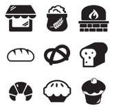 Iconos de la panadería Imagenes de archivo