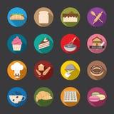 Iconos de la panadería, color Vector Fotos de archivo