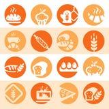 Iconos de la panadería del color stock de ilustración
