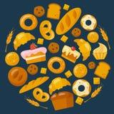 Iconos de la panadería fijados en estilo plano Foto de archivo