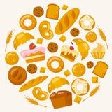 Iconos de la panadería fijados en estilo plano Fotos de archivo