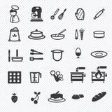 Iconos de la panadería fijados Ilustración Fotos de archivo