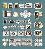 Iconos de la pantalla de la cámara fijados Imagen de archivo libre de regalías