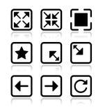 Iconos de la pantalla del Web site fijados - de plena pantalla, reduzca al mínimo, Imágenes de archivo libres de regalías