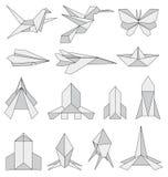 Iconos de la papiroflexia fijados ilustración del vector