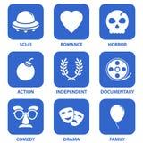 Iconos de la película Imágenes de archivo libres de regalías
