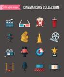 Iconos de la película y de la película fijados Diseño plano del estilo Ilustración del vector Imagen de archivo libre de regalías