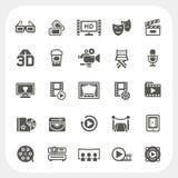 Iconos de la película y de los medios fijados Fotos de archivo