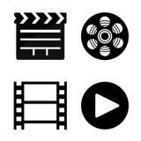 Iconos de la película y del cine Imágenes de archivo libres de regalías