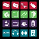 Iconos de la película y del entretenimiento de la música Imagen de archivo