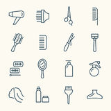 Iconos de la peluquería stock de ilustración
