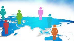 Iconos de la persona surgiendo en mapa del mundo ilustración del vector