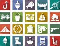 Iconos de la pesca Imagen de archivo libre de regalías