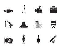 Iconos de la pesca y del día de fiesta de la silueta Fotografía de archivo libre de regalías