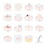 Iconos de la piel y de la dermatología fijados stock de ilustración