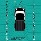 Iconos 9 de la pieza de automóvil Foto de archivo libre de regalías
