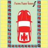 Iconos de la pieza de automóvil en infographic Foto de archivo libre de regalías