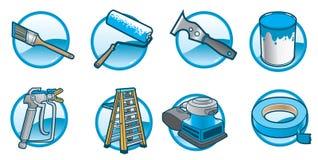 Iconos de la pintura de casa ilustración del vector