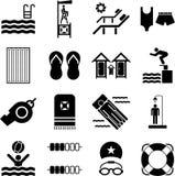 Iconos de la piscina Fotos de archivo