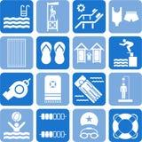 Iconos de la piscina Fotografía de archivo libre de regalías