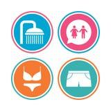 Iconos de la piscina Muestras de la ducha y del traje de baño Imagen de archivo