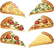 Iconos de la pizza Foto de archivo libre de regalías