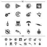 Iconos de la pizza ilustración del vector