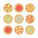 Iconos de la pizza Imágenes de archivo libres de regalías