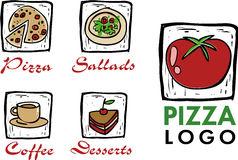 Iconos de la pizza/del café/del restaurante Imagen de archivo