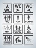 Iconos de la placa de la puerta del retrete del WC fijados Muestra del WC de los hombres y de las mujeres para el lavabo Placa de ilustración del vector