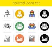 Iconos de la planta industrial fijados Fotos de archivo libres de regalías