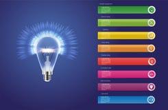 Iconos de la plantilla y del márketing del diseño de Infographic Icono del bulbo ilustración del vector